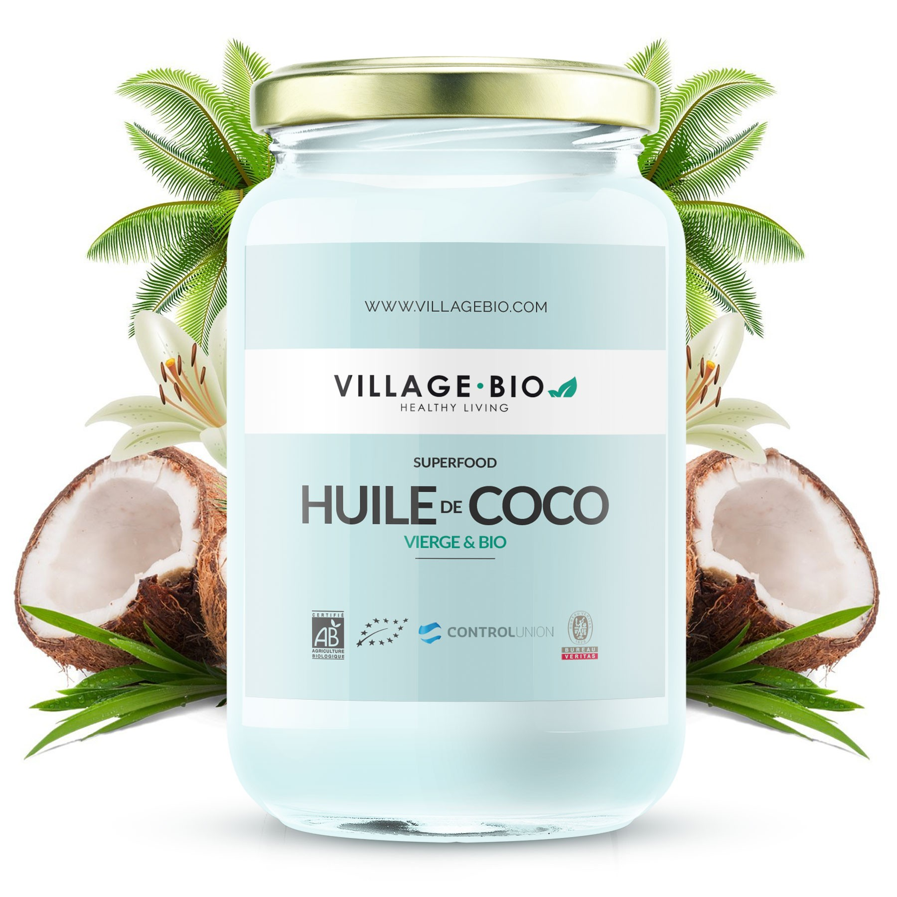 huile de coco bio 500ml village bio. Black Bedroom Furniture Sets. Home Design Ideas